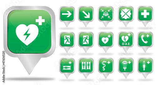 bulles carré argent : logos évacuation & premiers secours
