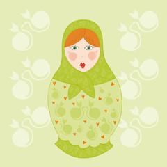 poupee russe verte et orange fond