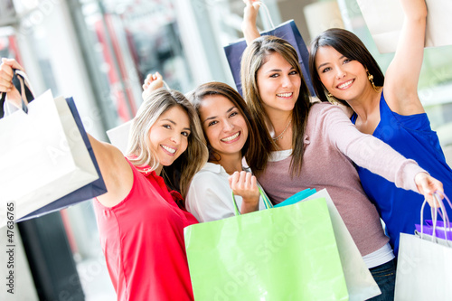 Excited female shoppers