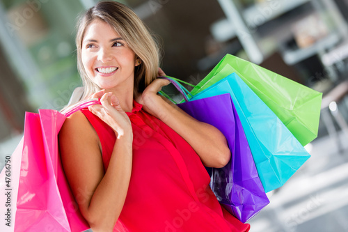 Pensive female shopper
