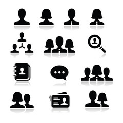 Man woman user vector icons set
