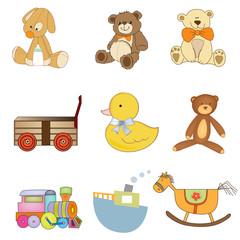 funny toys items set isolated on white background
