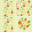 Vector eggs and salad set of seamless pattern and borders with