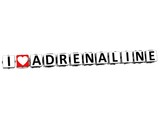 3D I Love Adrenaline Button Click Here Block Text poster