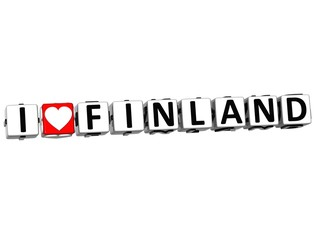 3D I Love Finland Button Click Here Block Text