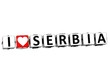 3D I Love Serbia Button Click Here Block Text