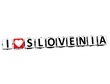3D I Love Slovenia Button Click Here Block Text