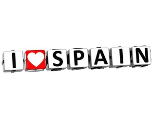 3D I Love Spain Button Click Here Block Text