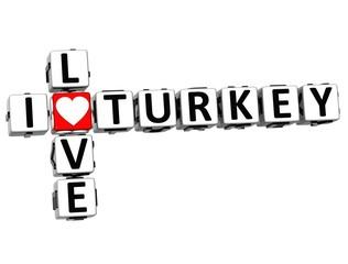 3D I Love Turkey Crossword