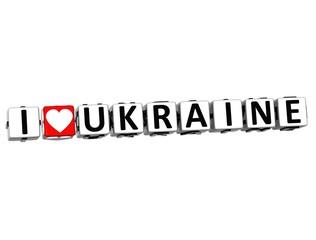 3D I Love Ukraine Button Click Here Block Text