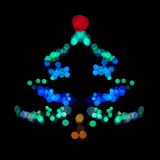 Christmas tree made ​​of bokeh lights