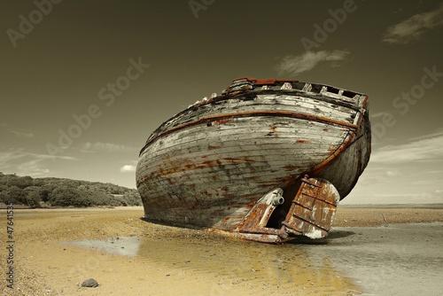 Fototapete Landschaft - Wrack - Meer / Ozean