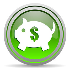 piggy bank green glossy icon on white background