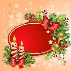 Christmas card with burning candles and  Christmas tree branches
