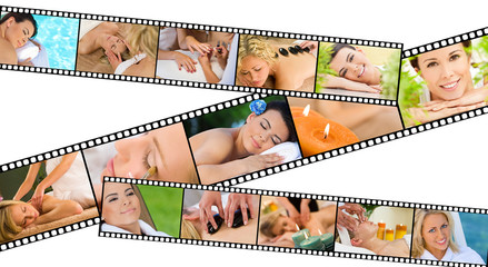 Women at Health Spa Relaxing Film Strip Concept