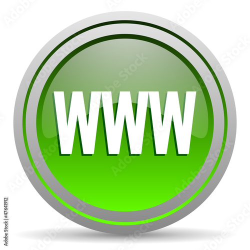 www green glossy icon on white background