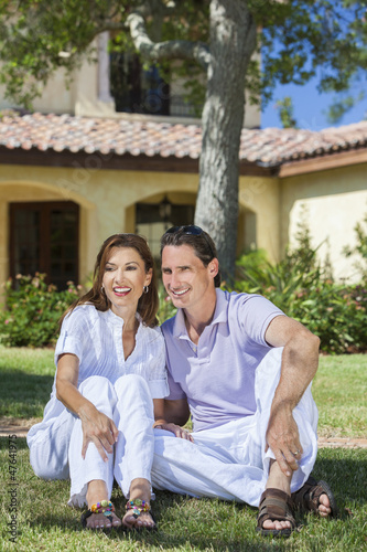 Happy Middle Aged Man Woman Couple Sitting Outside