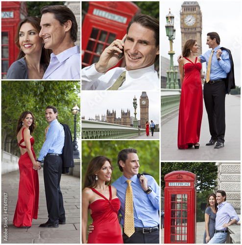 Montage of Romantic Couple in London England