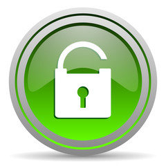 padlock green glossy icon on white background
