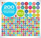 Fototapety 200 Universal Plain Icon Set