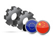 European Union and chinese flags on a gears