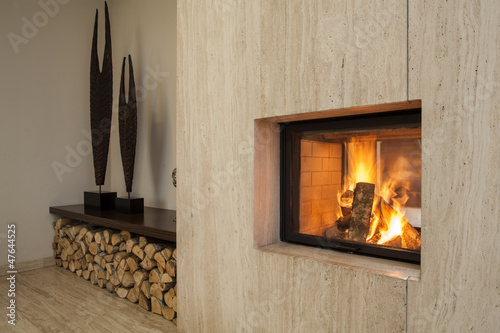 Travertine house: fireplace