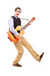 Full length portrait of a happy male playing a guitar