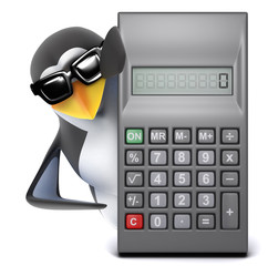 Penguin in sunglasses behind a calculator