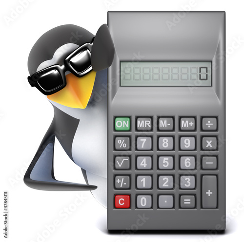Penguin in sunglasses behind a calculator