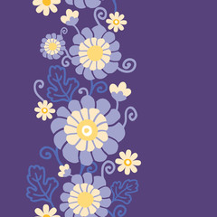 Vector purple flowers and leaves elegant vertical seamless