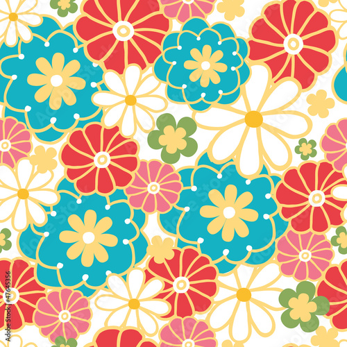 Vector camomiles seamless pattern background with hand drawn