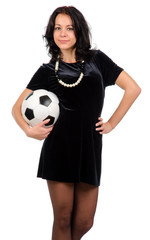 Sexy woman with a soccer ball