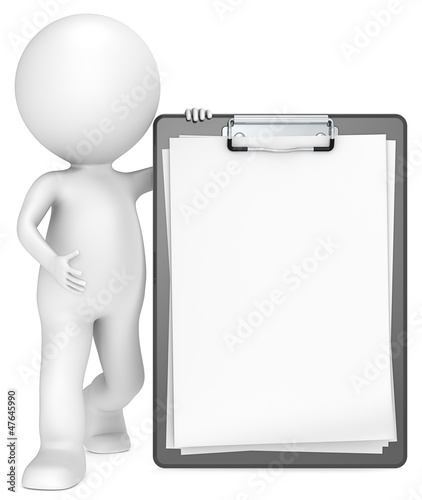 3D little human character with a Classic Black Clipboard.
