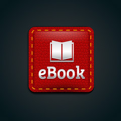 Ebook icon button with red leather