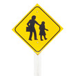 School zone warning sign isolate on white