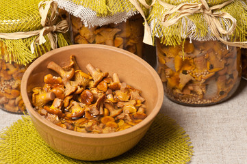 Marinated golden chanterelles
