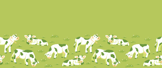 Vector cows on the field horizontal seamless pattern ornament