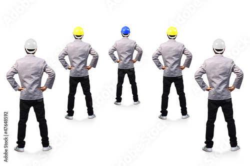 Engineers person standing back view, isolated on white