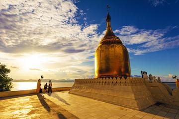 Buphaya Pagoda at sunset in Bagan, Myanmar.