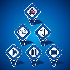 Set of Media Icon Design Stock Vector