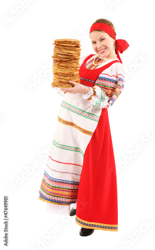Girl with stack of pancakes