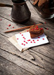 Card with Letter and Chocolate Cookies in the Shape of Heart at