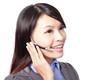 call center employee wearing headset