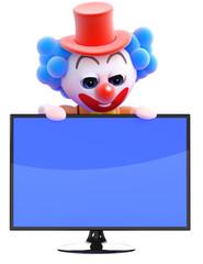 Clown behind flatscreen monitor