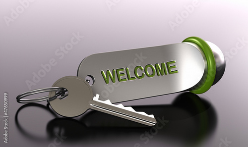 Welcome in our hotel rent a room, bedroom booking, key ring