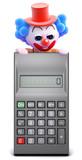 Clown peeps over top of calculator