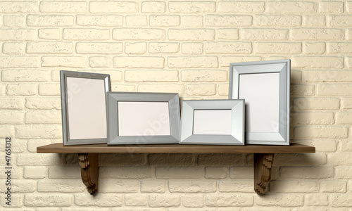 Shelf With Picture Frames Front