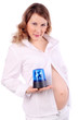 Pregnant woman in white holds blue flasher isolated on white