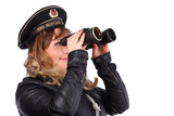Beautiful woman wearing leather jacket and peakless cap of USSR