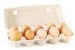 Close up of ten brown eggs in cardboard container isolated